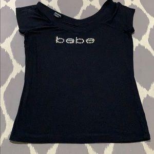 Bebe black with rhinestones L tee NWOT